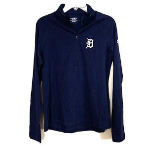 Medium Detroit Tigers Shirt Under Armour Womens 1/2 Zip Loose HeatGear Blue NEW
