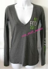 ABERCROMBIE & FITCH L/S V NECK TEE T SHIRT TOP CHARCOAL GREY XS EXTRA SMALL