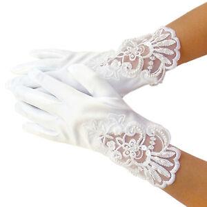 2-9 years girls faux satin wrist gloves cream white pink