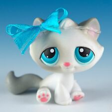 Littlest Pet Shop Tabby Cat #53 Gray and White With Blue Eyes