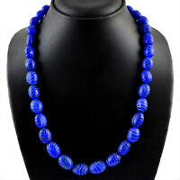 450.00 CTS EARTH MINED RICH BLUE SAPPHIRE OVAL CARVED BEADS NECKLACE STRAND