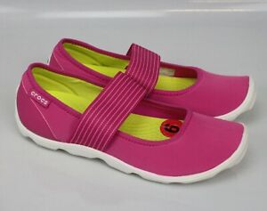 Crocs Shoes Duet Busy Day Mary Jane 16025 Slip On Strap Stretch Pink Womens 6
