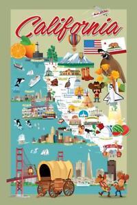California Retro Cartoon Style Map Mural Poster 36x54 inch
