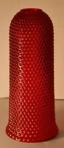 """Antique VTG Victorian Ruby Red Hobnail Glass Lamp Light Fixture Shade10"""" tall"""