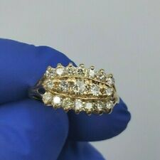 1.20 ct H/SI Natural Diamonds Cocktail Ring 14k Yellow Solid Gold Vintage
