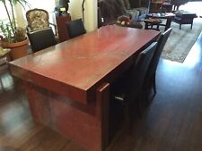 ITALIAN RED MARBLE DESK/TABLE - MODERN Dining or Desk - Made In Italy 1980s