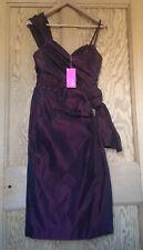 WHISTLES Russet Taffeta Optional One Shoulder Dress Boned Bodice Size 10 NEW