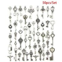 50x Mixed Antique Tibetan silver Jewelry Key Charms Pendant Carfts DIY Necklace