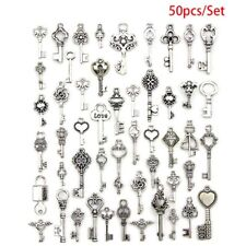 50Pcs Mixed Antique Tibetan silver Jewelry Key Charms Pendant Carfts Diy Find Ve
