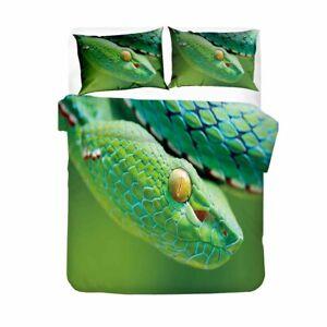 Green Snake Duvet Quilt Cover Queen Viper Bedding Set PillowCase Cobra