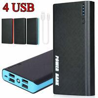 4 USB 900000mAh Portable Backup External LED Power Bank Battery Pack Charger