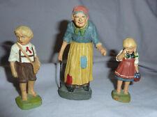 VINTAGE HANSEL GRETEL & THE WITCH COMPOSTION  FIGURES  By ELASTOLIN- GERMANY