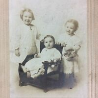 Smiling Baby Toddlers Siblings Vtg Studio Portrait Black White Cardboard Folio