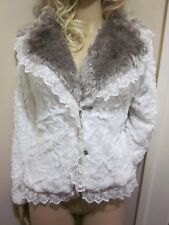 Womens Lolita White Lace trimmed soft faux fur cardigan Blazer Jacket coat S/M