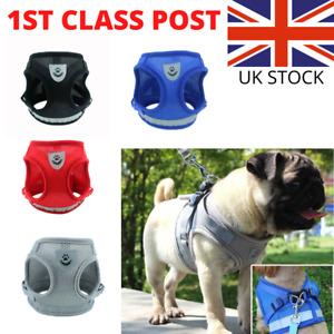 Pet Dog Adjustable Harness Nylon Mesh Fabric Soft Puppy Reflective Vest & Lead