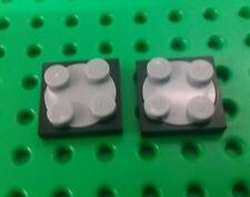*NEW* Lego Bulk 2x2 Stud Swivel Round Turntables Black Base Grey - 2 pieces