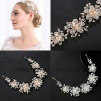 Bridal Rhinestone Pearl Tiara Hair Vine Headdress Headpiece 2 Colors Hot US