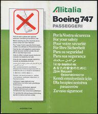 Alitalia airline B 747 Passeggeri 64504060/12-96 brochure SAFETY CARD sc320 aa