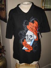 Black Skull Cotton T-Shirt w/Skull Design. Unisex Junior Size. 16/18