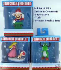 SUPER MARIO 3 Christmas Ornaments FULL SET Nintendo Yoshi Peach Toad Retired NIB