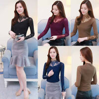 Autumn Winter Women Lace Turtleneck Long Sleeve Stretch Slim Casual Tops Blouse