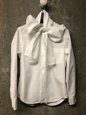 COMME des GARCONS - White Cotton Shirt with Neck-tie/ Bow detail - Size S