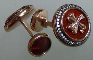 14ct gold Enamel Fabergé cufflinks (replica) Irish Shamrock St Patrick round