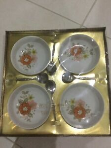 Retro Oven to Table Stoneware Dessert Bowls X 4 With Spoons YAMATA MADE IN JAPAN