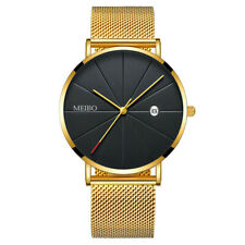 Trendy Men's Ultra Thin Minimalist Watch Slim Strap Stainless Steel Quartz US J