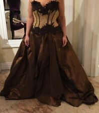 Dress By Juan Carlos Pinera Corset Size 10-12 Satin Silk Skirt Brown Beige Color