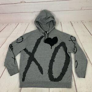 H&M The Weeknd HM XO Gray Heart Hoodie Size XL