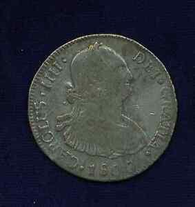 GUATEMALA SPANISH COLONIAL CHARLES IIII  1800-NG-M  4 REALES SILVER COIN, VF