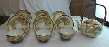 ANTIQUE ORIENTAL: TEA POT SET 6 CUPS & SAUCERS WITH  GOLD DRAGONS