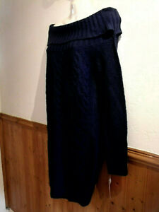 BRAND NEW SOUTH LONG LENGTH CABLE KNIT COWL NECK JUMPER SIZE 10 - NAVY