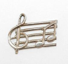 Vintage Music Bar With Notes Sterling Silver Bracelet Charm  / Detailed (1.1g)