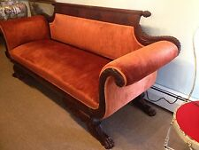 Early American Classical Sofa Circa 1825 Mahogany Horns of Plenty Paw Casters
