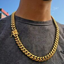 Mens Miami Cuban Link Bracelet & Chain Set Gold Plated Stainless Steel