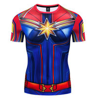 Superhero Captain Marvel Costume Cosplay Compression Quick-Drying Tights T-shirt