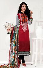 RED-BLACK PRINTED COTTON INDIAN SALWAR KAMEEZ SUIT DRESS MATERIAL LADIES DEN