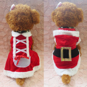 Pet Puppy Christmas Santa Claus Costume Outfits Hoodie Fancy Dress For Dog Cat