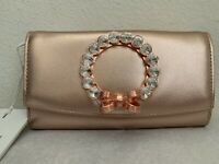 NWT Ted Baker London Pearl II Leather Matinee Wallet On a Chain $175 Rose Gold