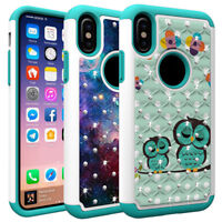 For iPhone X XS 7 8 Plus Case Bling Diamond Hybrid Defender Protective Cover