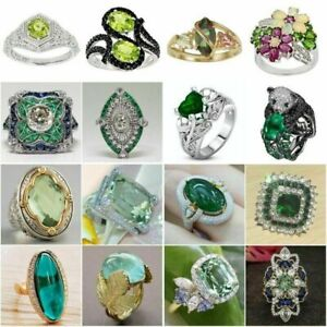 Fashion 925 Silver Green Rings Women Emerald Wedding Engagement Ring Jewelry