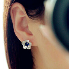 Fashion Blue Crystal Flower Studs Earrings Ear Jewelry Accessories Women Earring