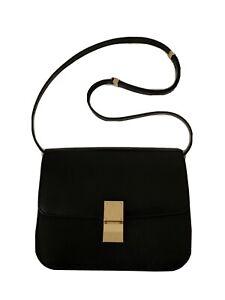 Celine Classic Box Medium Shoulder Bag In Black
