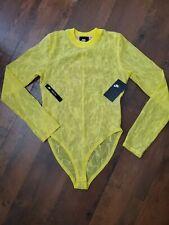 Nike NSW  Sportswear Women's Lace Bodysuit M Yellow Mesh Gym Casual