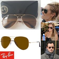 RAY-BAN Sunglasses RB 3025 001/33 58-14 Gold Aviator Frame B-15 Brown Lenses