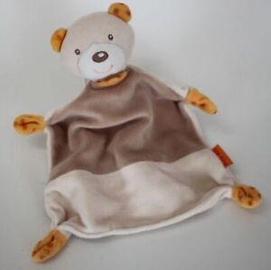 Schmusetuch Bär hellbraun braun mit orangenen Zipfeln Beauty Baby Müller