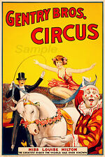 VINTAGE GENTRY BROS CIRCUS ADVERTISING A3 POSTER PRINT
