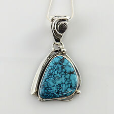 Authentic Native American Sterling Silver Turquoise Pendant